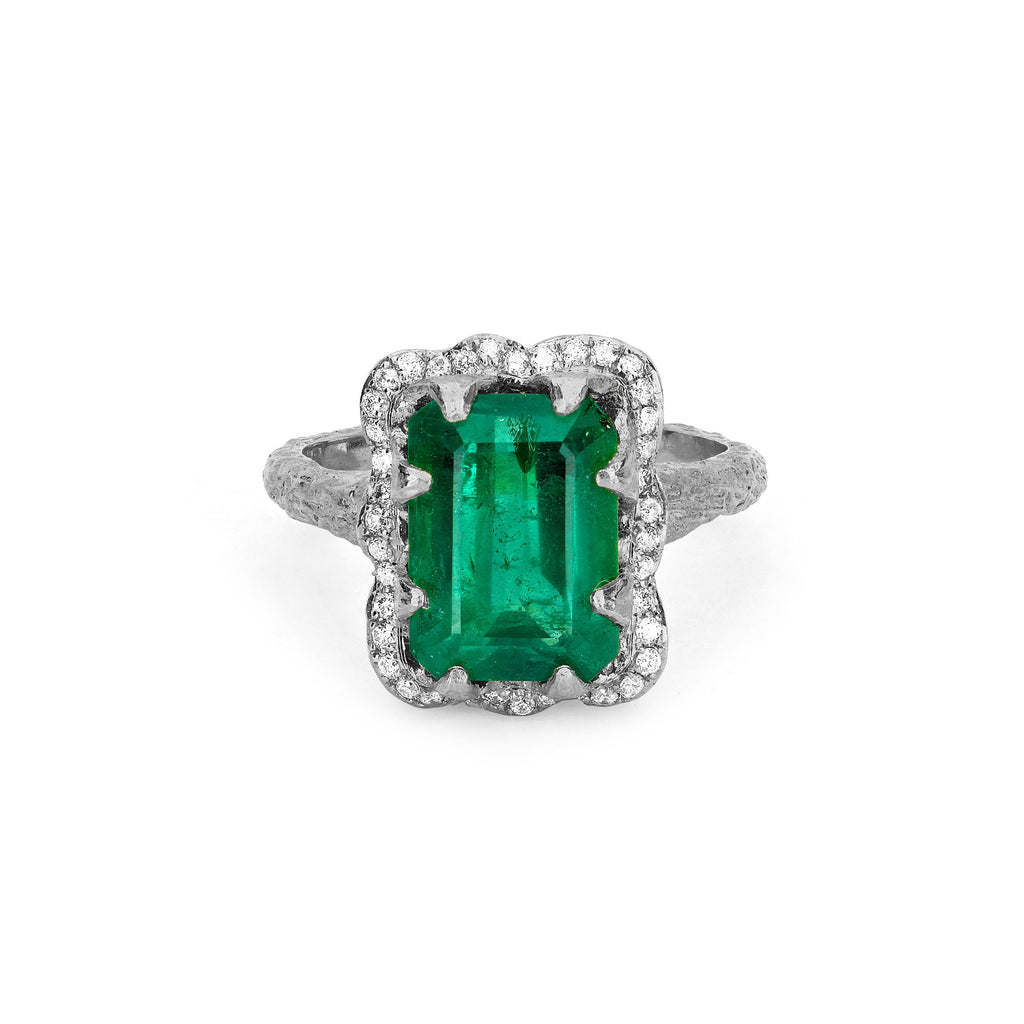 18k Queen Emerald Cut Emerald Ring with Full Pavé Diamond Halo White Gold