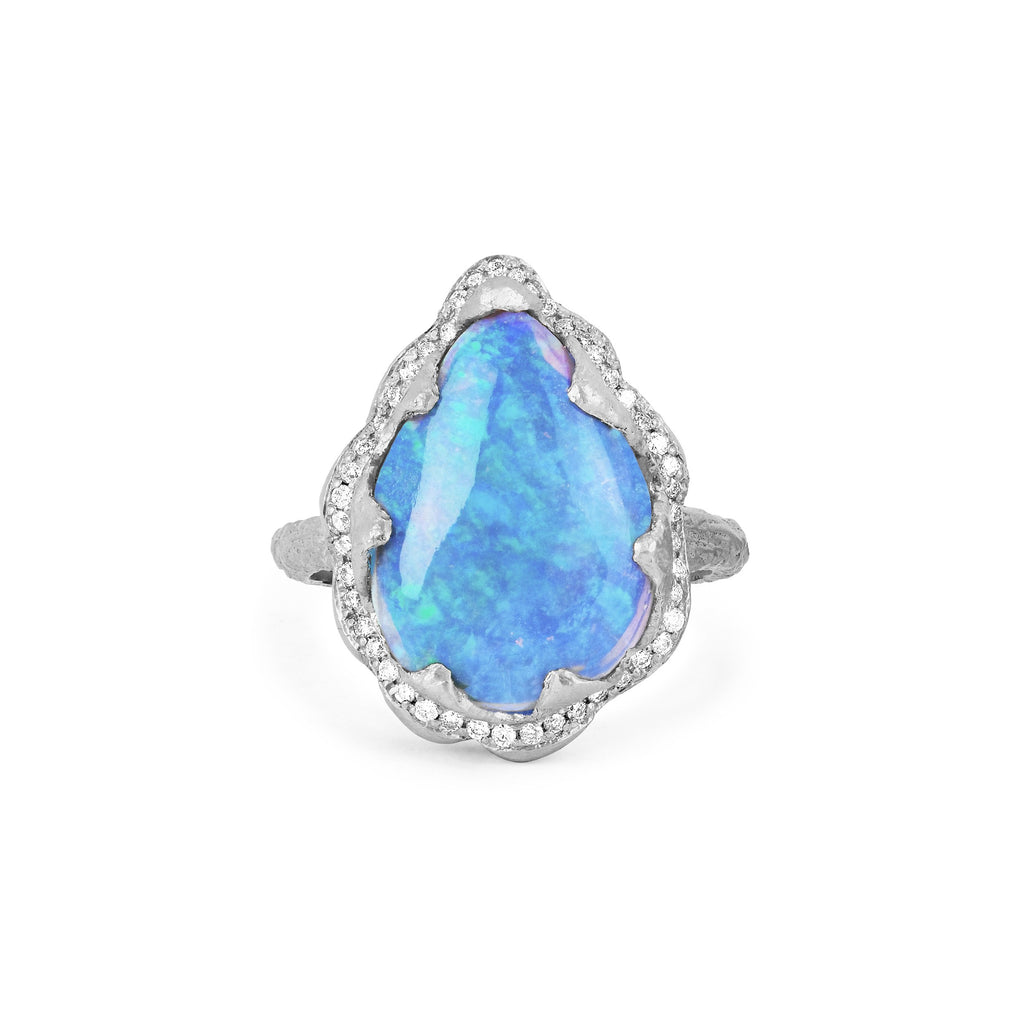 18k Queen Premium Water Drop Blue Opal Ring with Pave Diamond Halo White Gold