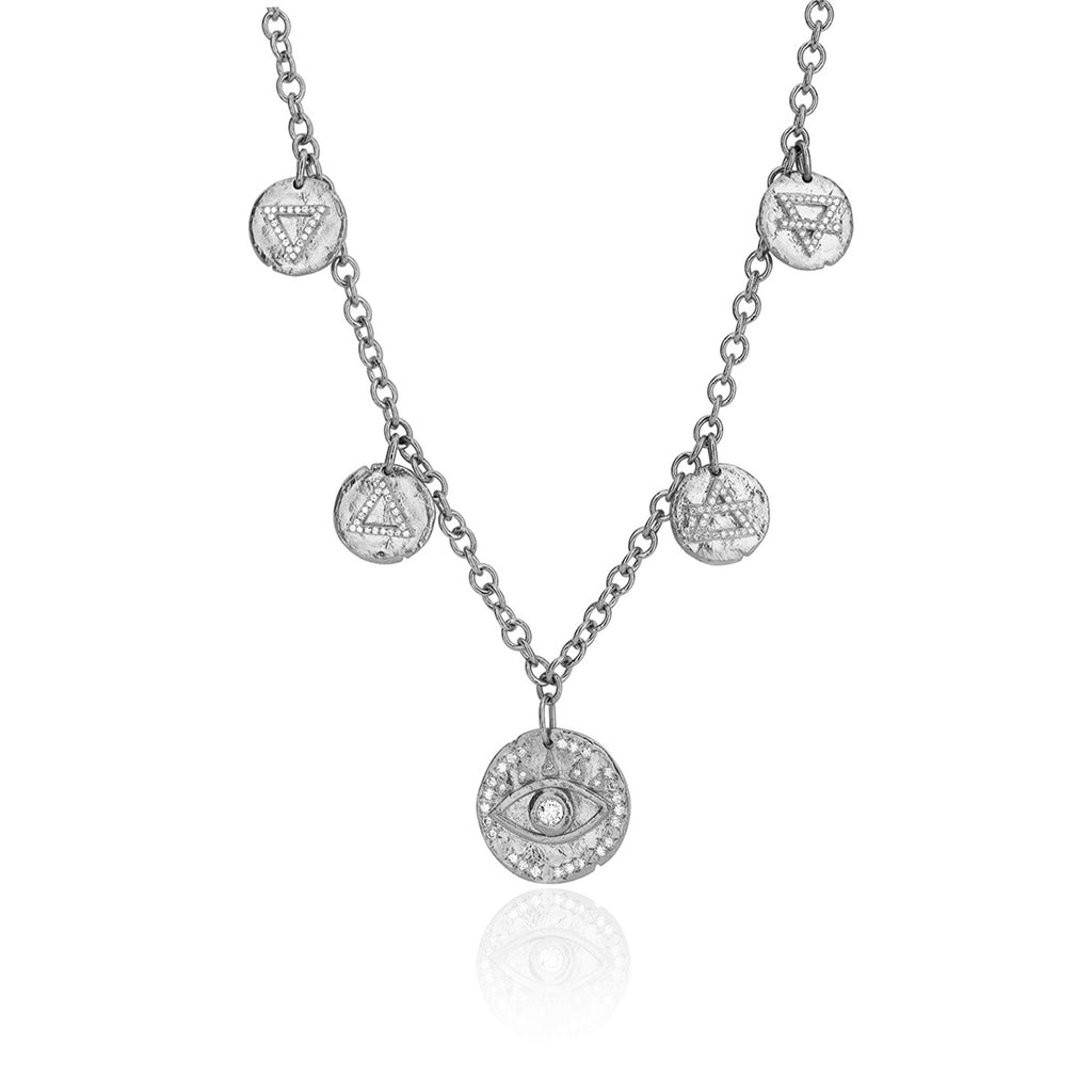 NEW! Earth's Elements Charm Necklace White Gold