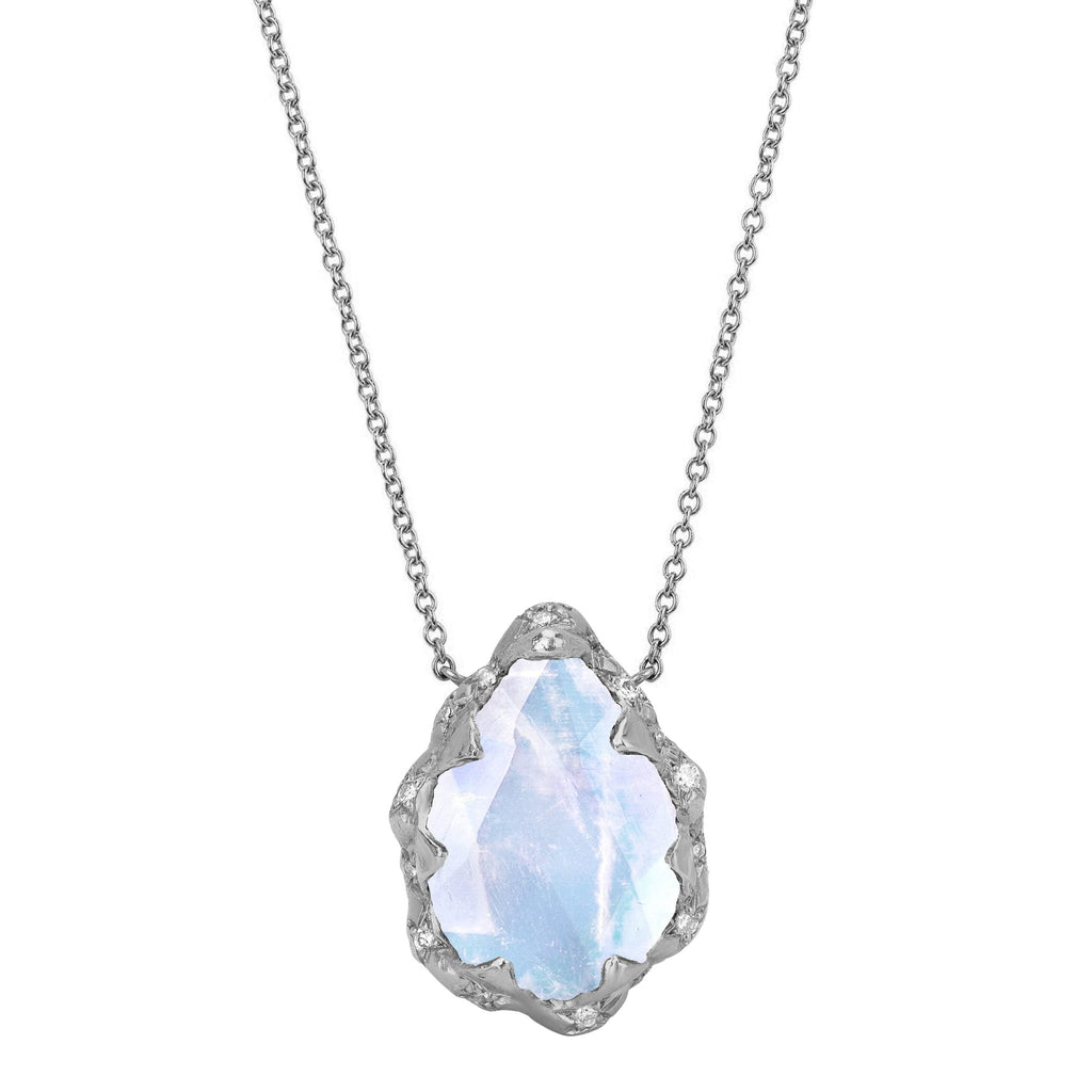 Queen Water Drop Moonstone Necklace with Sprinkled Diamonds White Gold