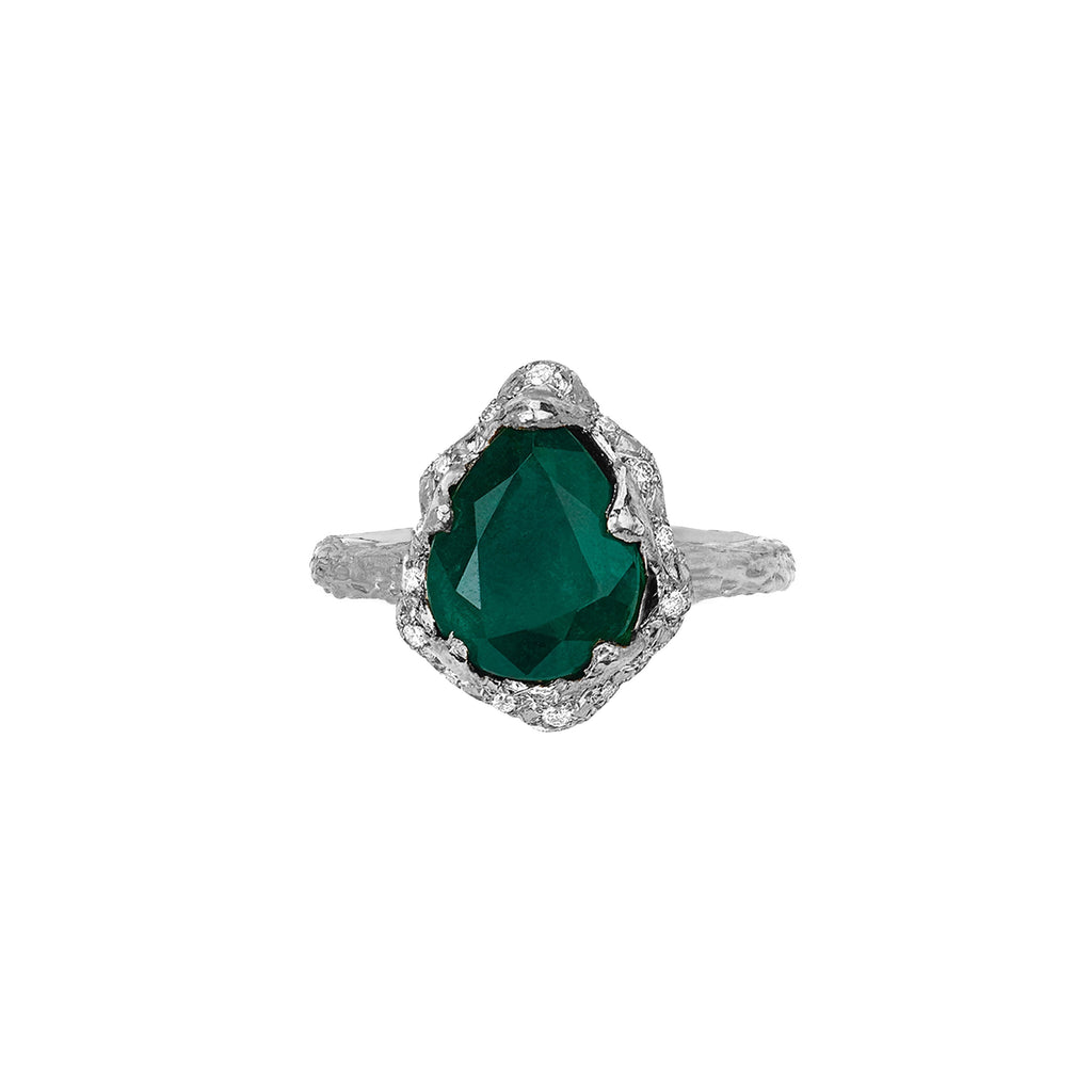 Baby Queen Water Drop Zambian Emerald Ring with Sprinkled Diamonds White Gold
