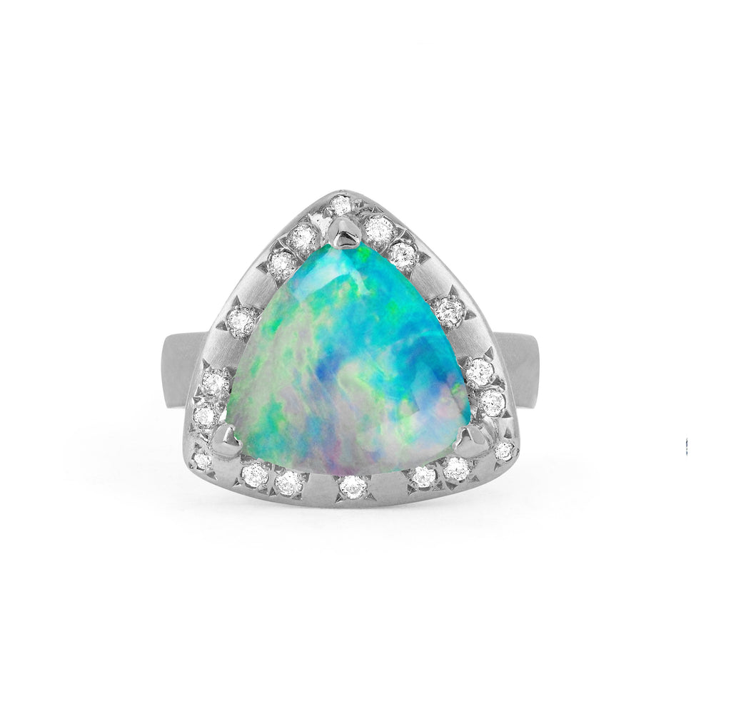 Wilderness Cabochon Blue Opal Ring with Diamonds White Gold