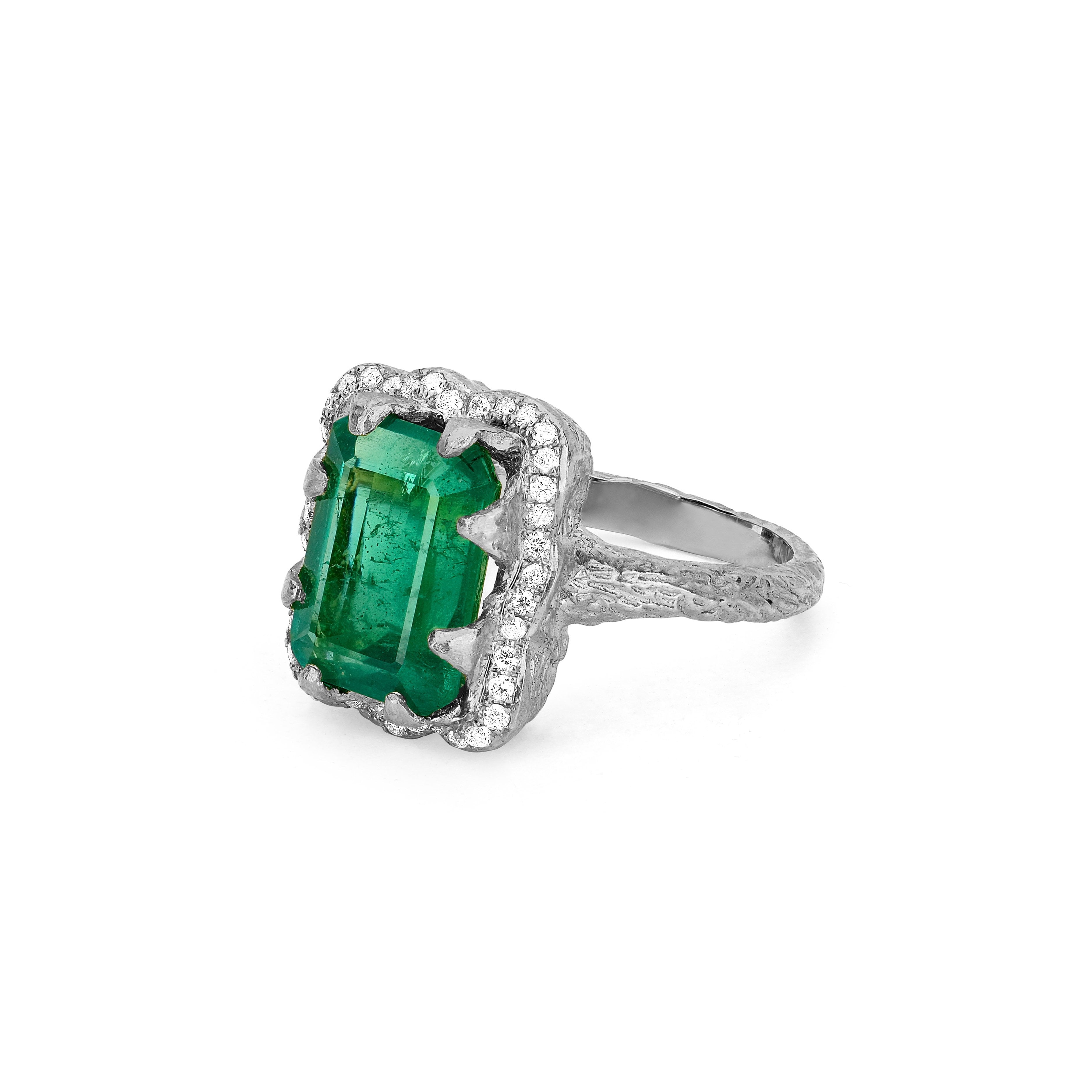 18k Queen Emerald Cut Emerald Ring with Full Pavé Diamond Halo