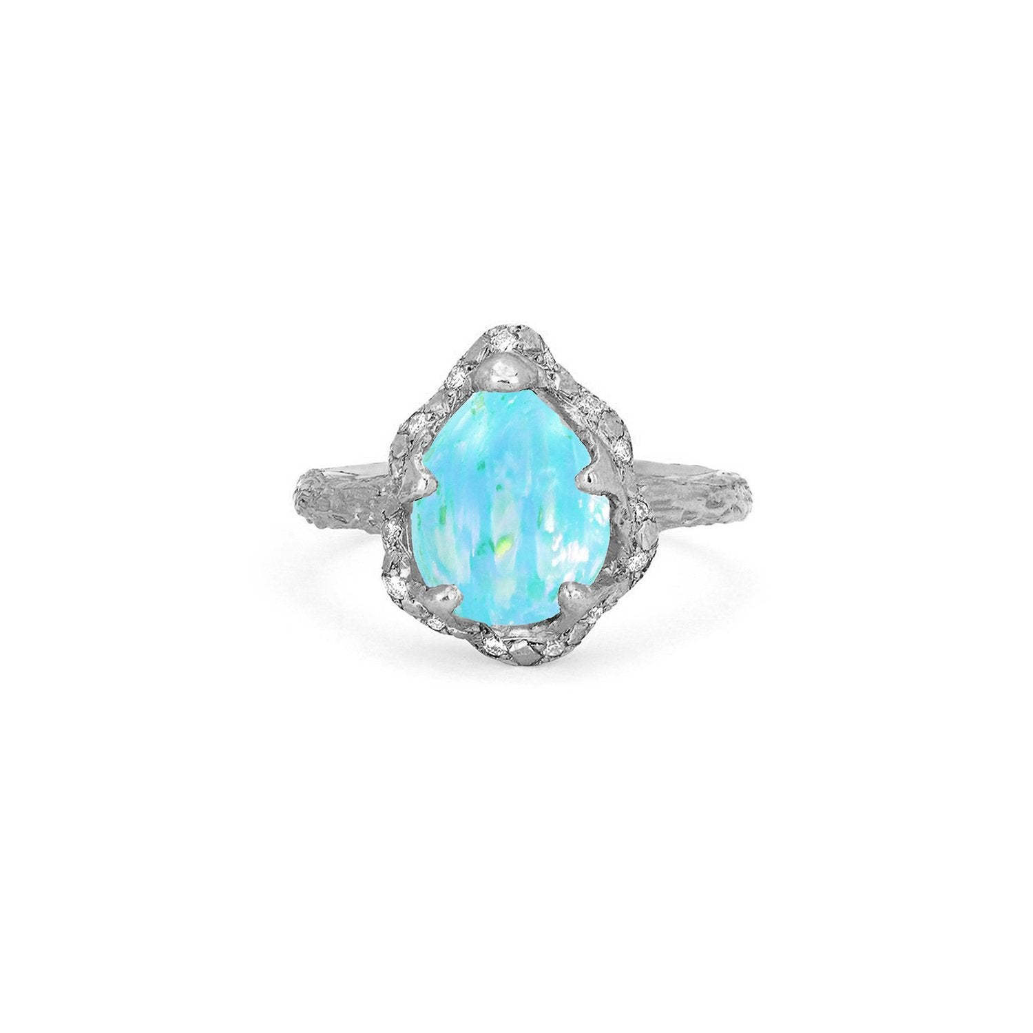 Baby Queen Water Drop Blue Opal Ring with Sprinkled Diamonds