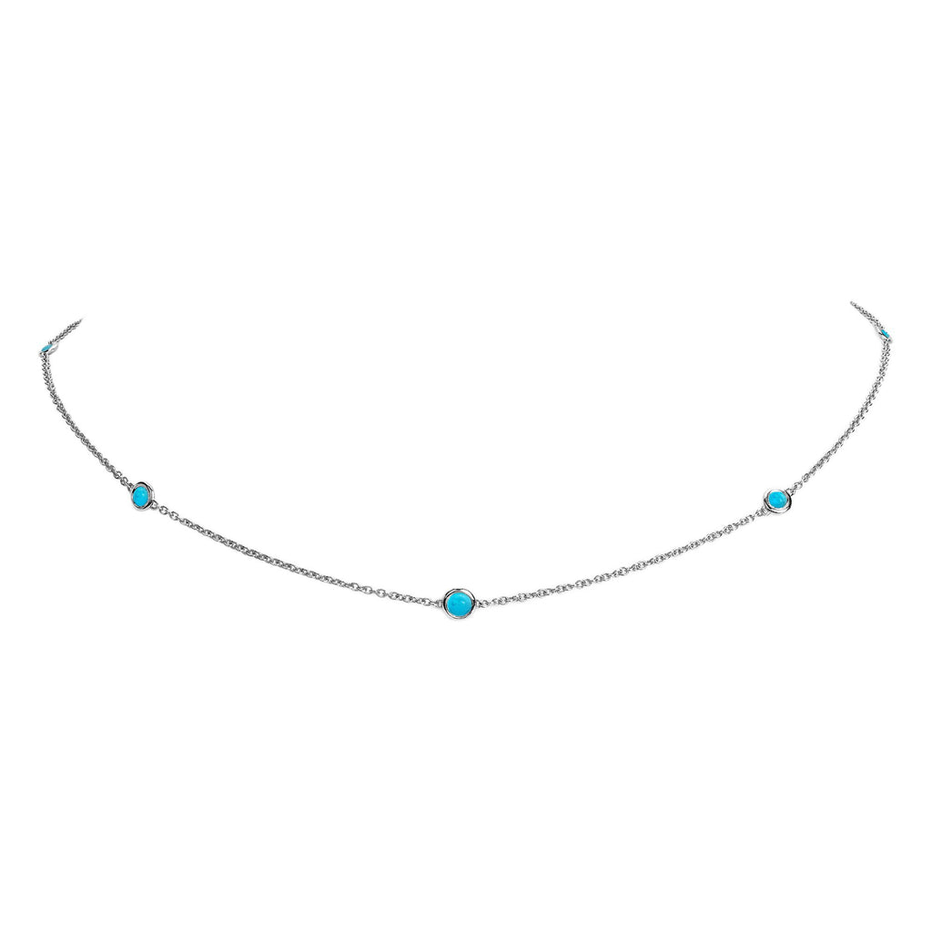 5 or 7 Turquoise Orbit Bezel Choker White Gold