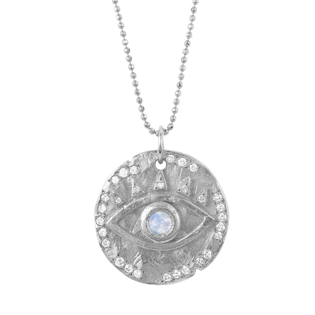 18k Moonstone Eye Of Protection Coin Pendant White Gold
