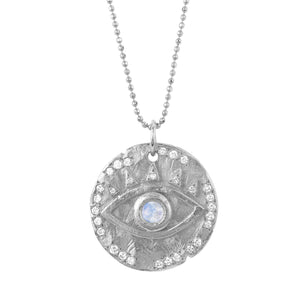 NEW! 18k Moonstone Eye Of Protection Coin Pendant