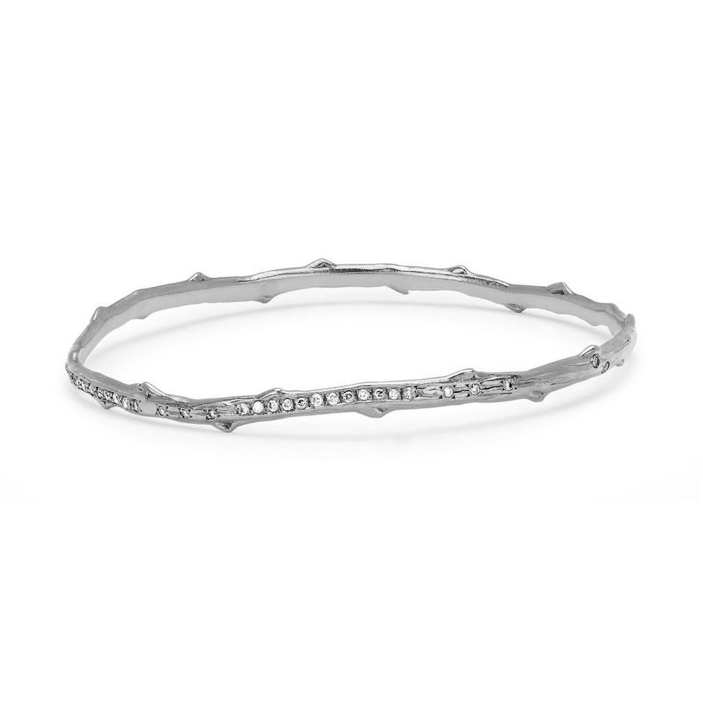 Pavé Diamond Rose Thorn Bangle White Gold