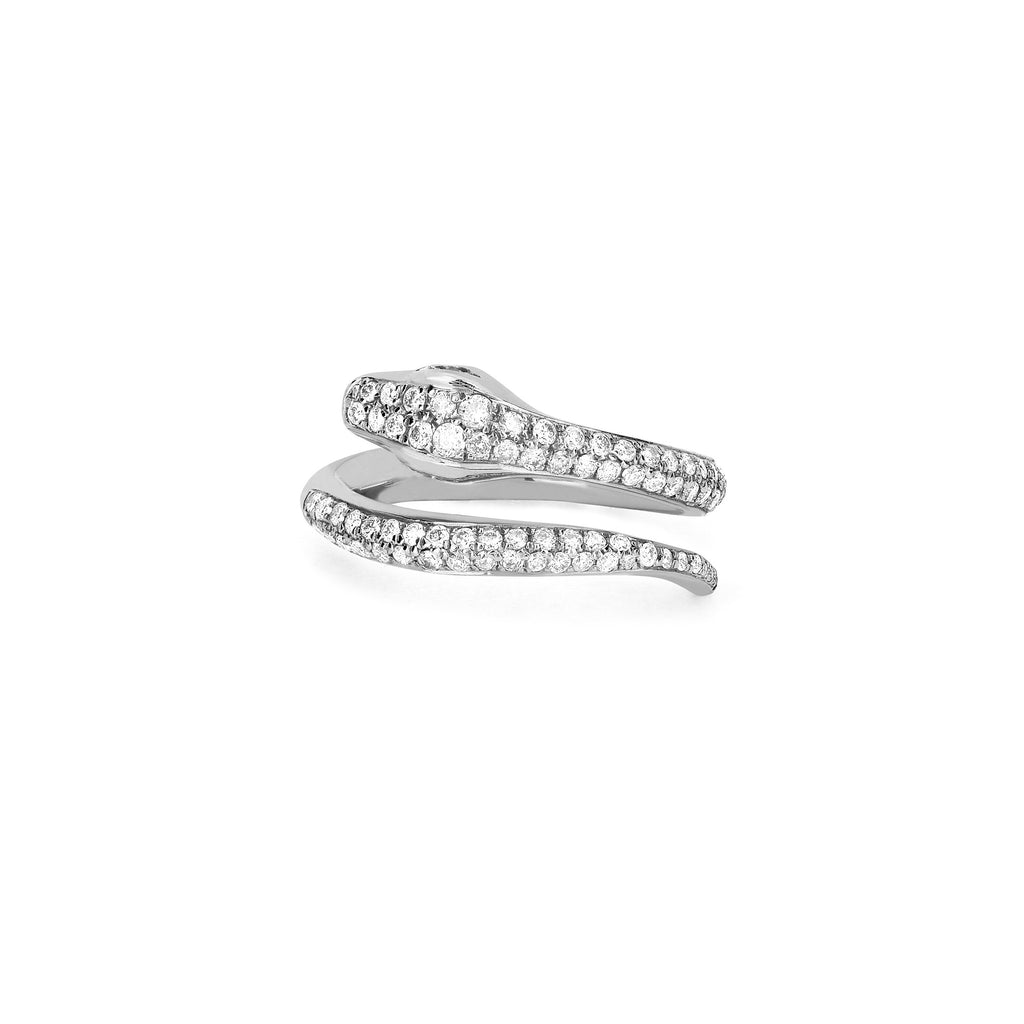 Kundalini Snake Coil Pinky Ring with Pavé Diamonds White Gold