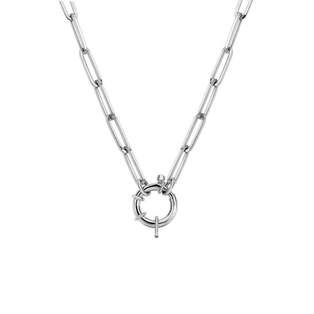 Alchemy Link Charm Necklace with Hoop Closure White Gold
