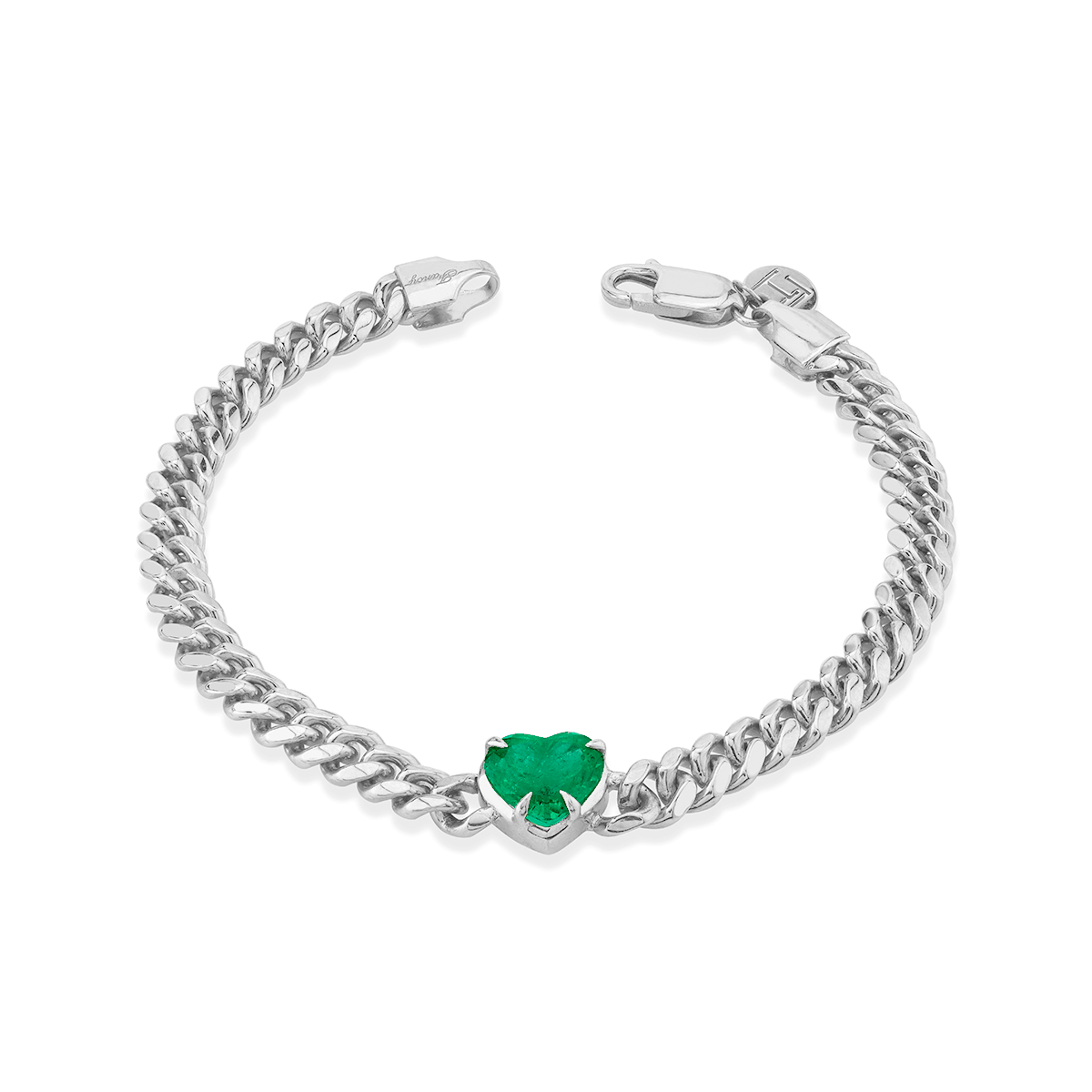 NEW! Queen Emerald Heart Cuban Bracelet