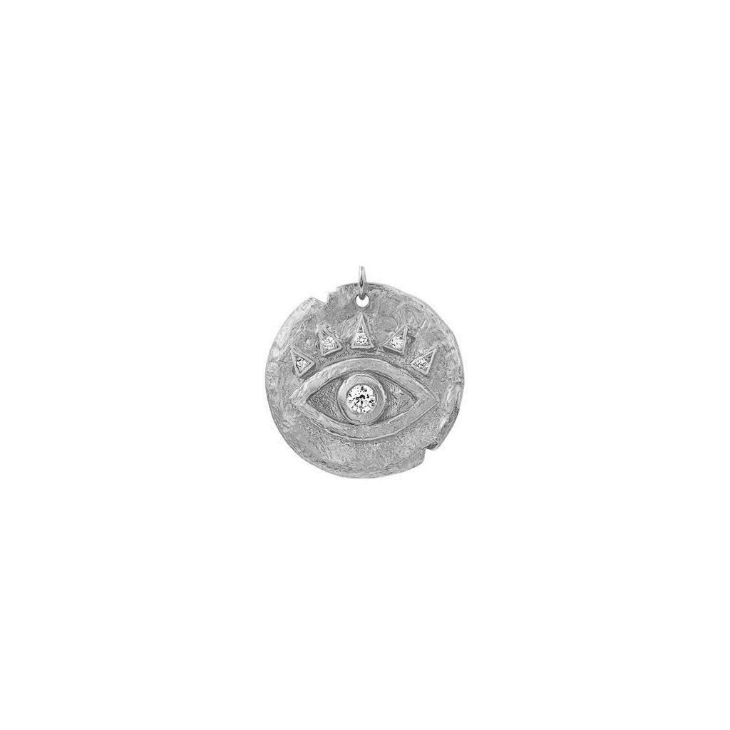 Diamond Baby Eye of Protection Coin Charm White Gold