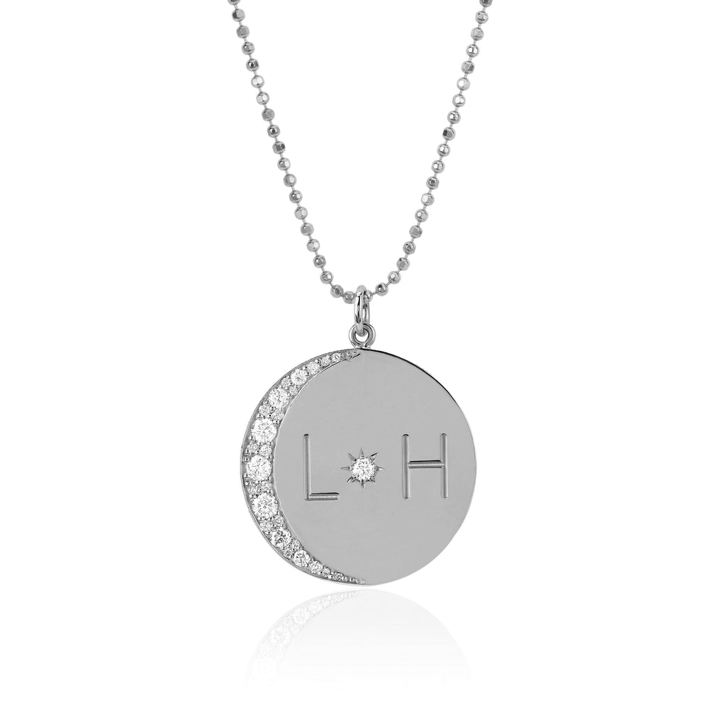 Love You To The Moon and Back Necklace with Diamonds on Ball Chain White Gold