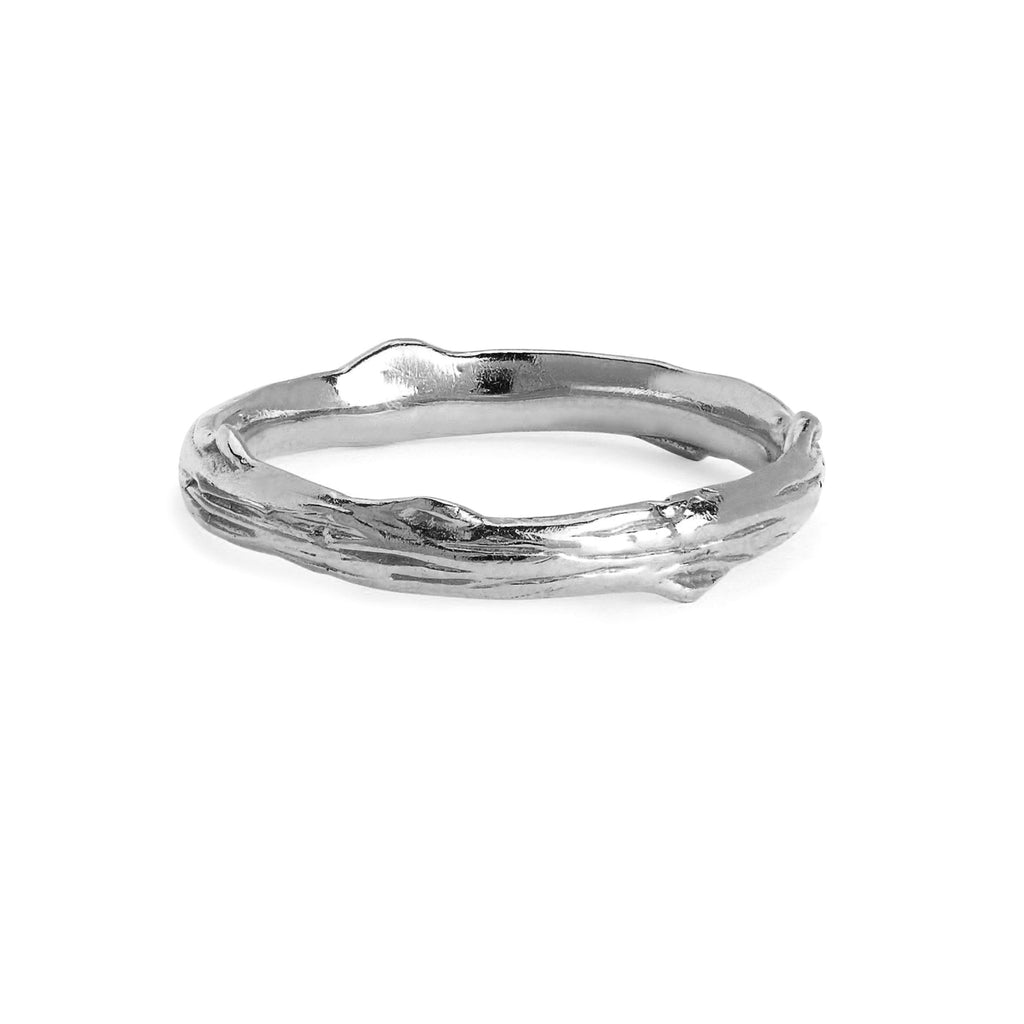Men's Rose Thorn Solid Band Silver