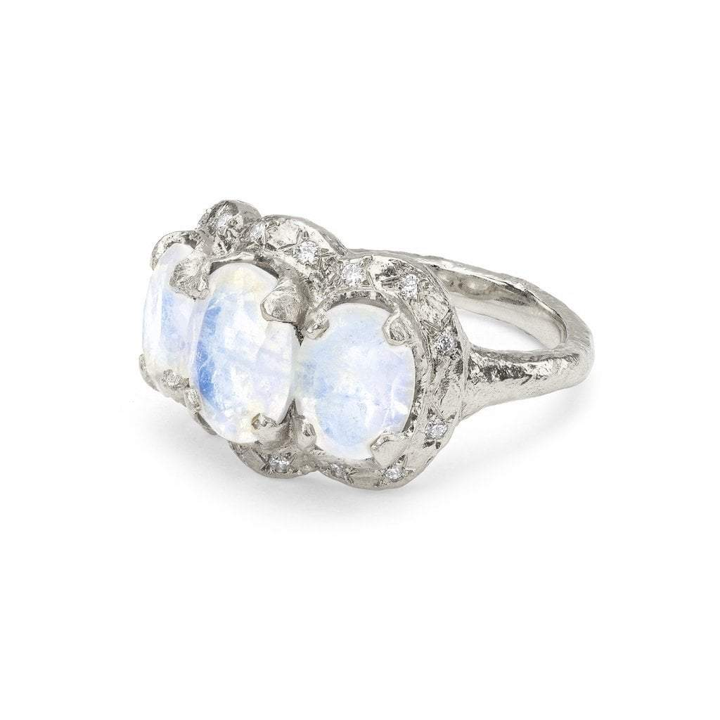 Queen Triple Goddess Moonstone Ring with Sprinkled Diamonds