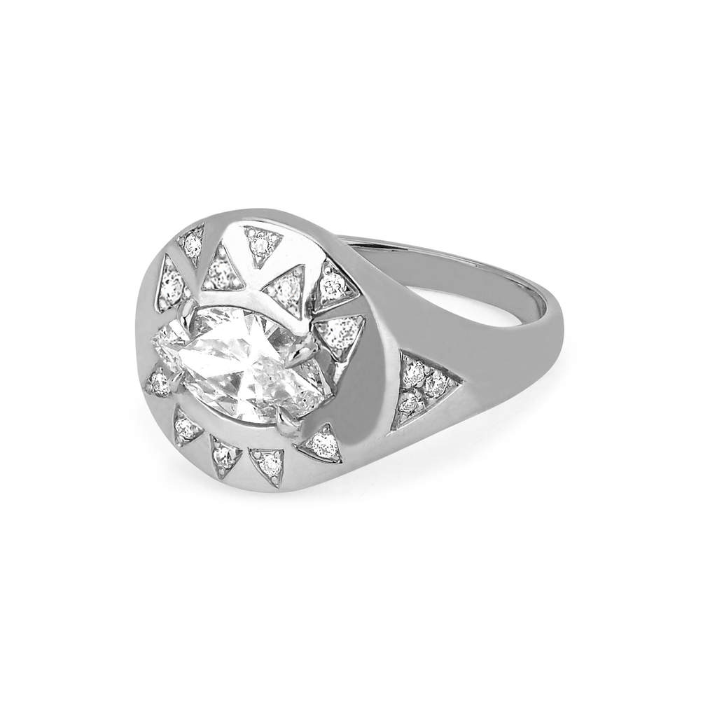 Diamond Angel Eye Signet Ring
