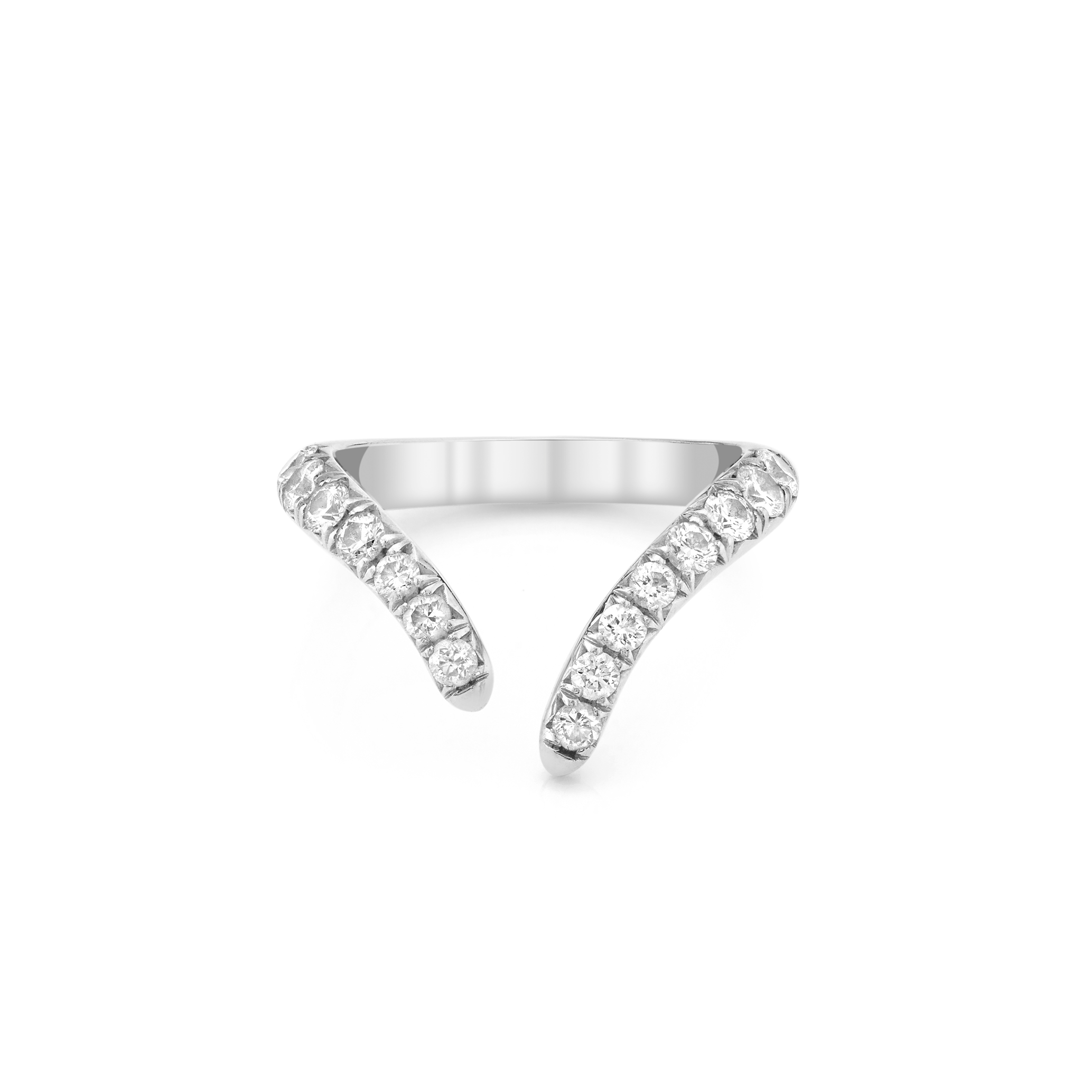 French Pavé Diamond Tusk Ring