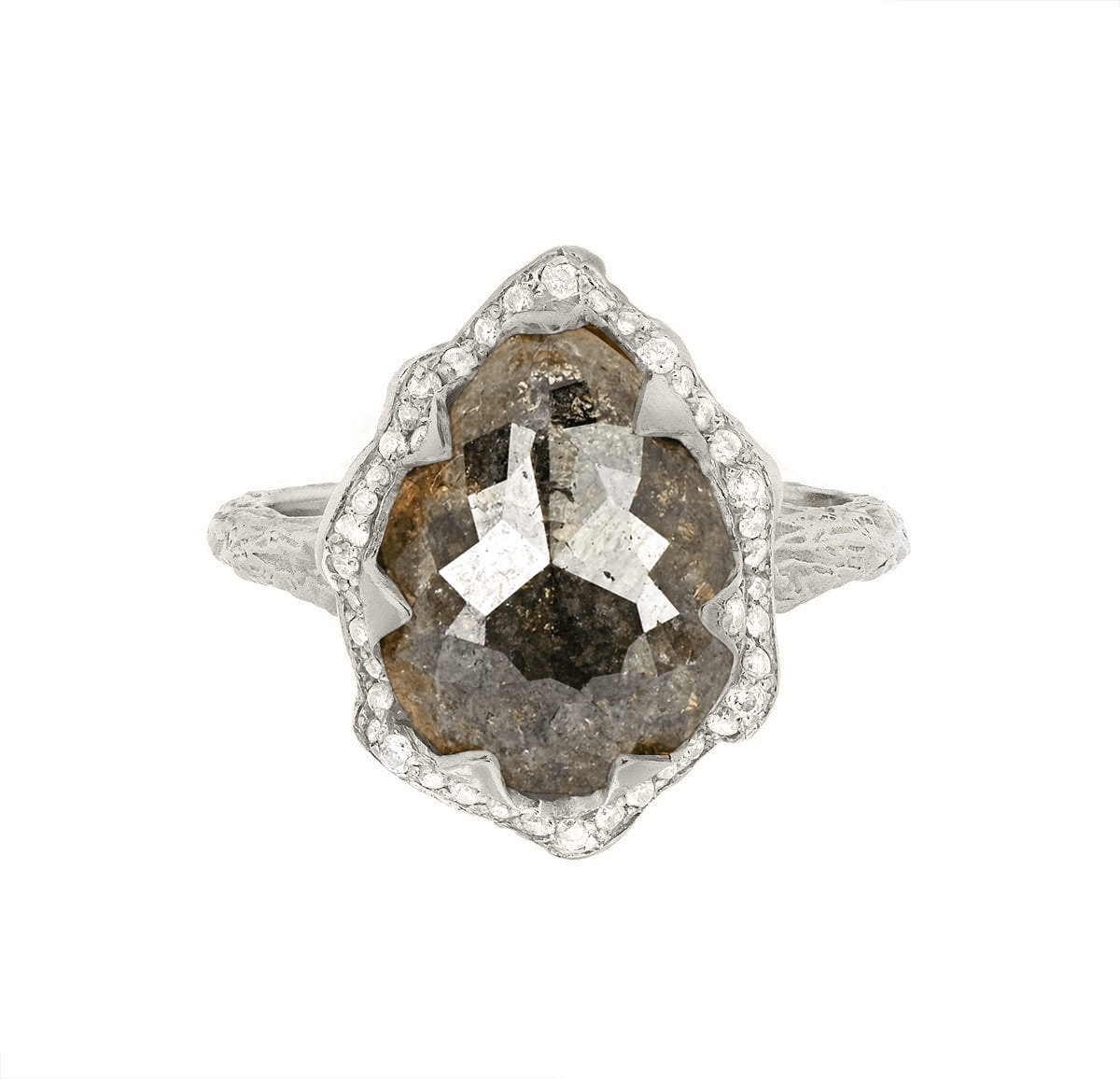Queen Water Drop Grey Diamond Ring with Full Pavé Diamond Halo