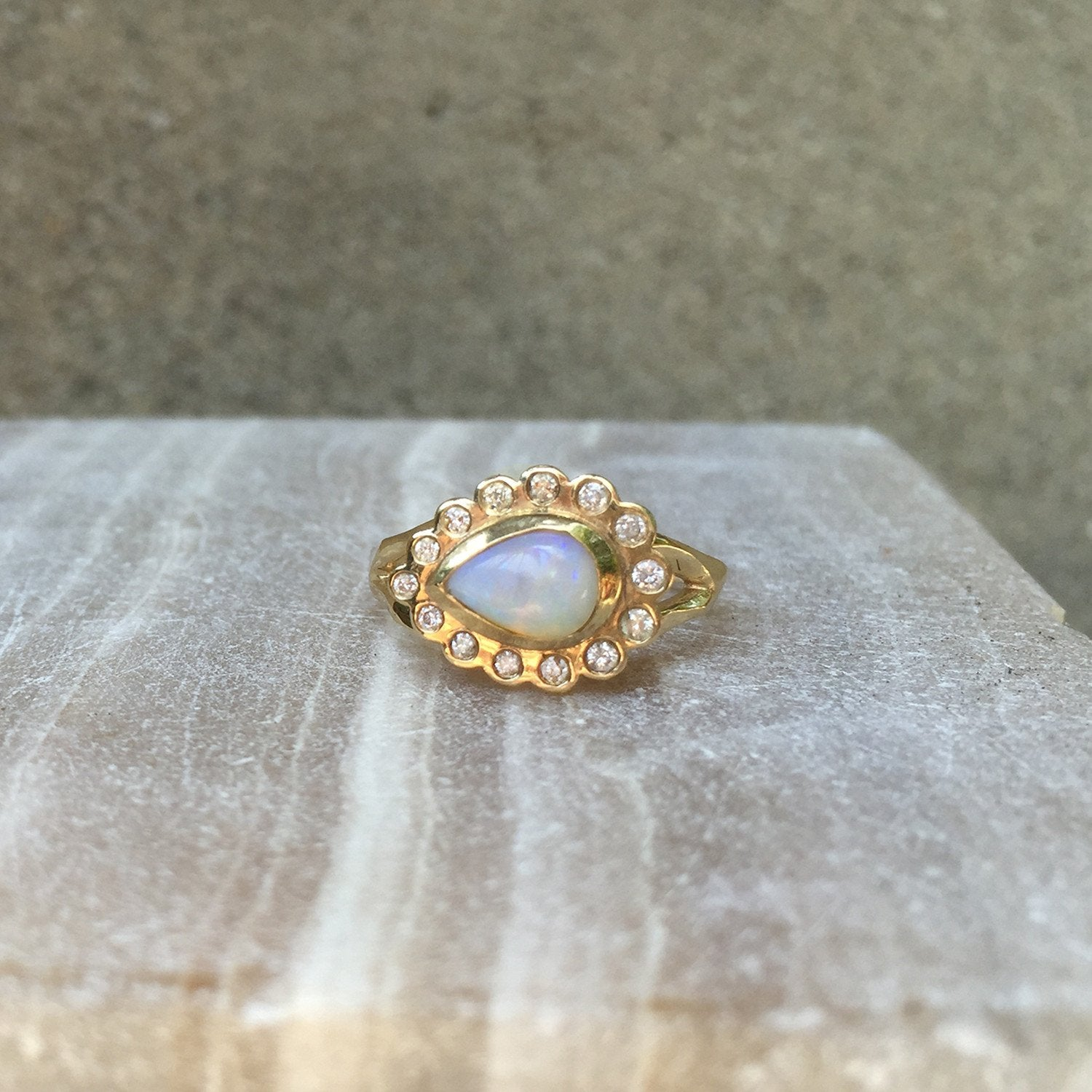 Water Drop Opal and Diamond Ring