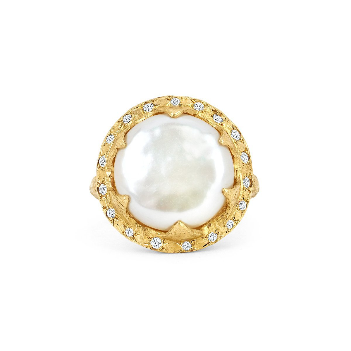 Queen Diamond and Lunar Pearl Ring