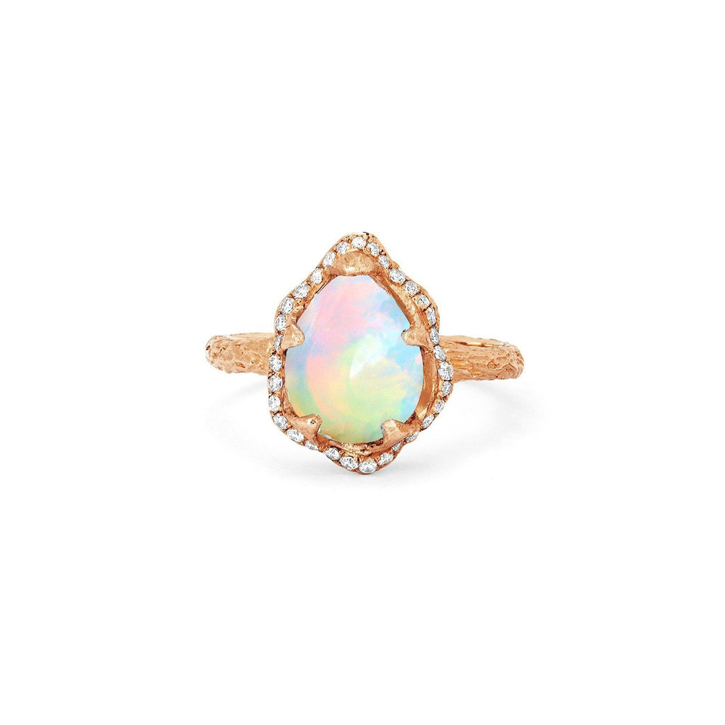 Baby Queen Water Drop White Opal Ring with Full Pavé Diamond Halo Baby Queen Water Drop White Opal Ring with Full Pavé Diamond Halo