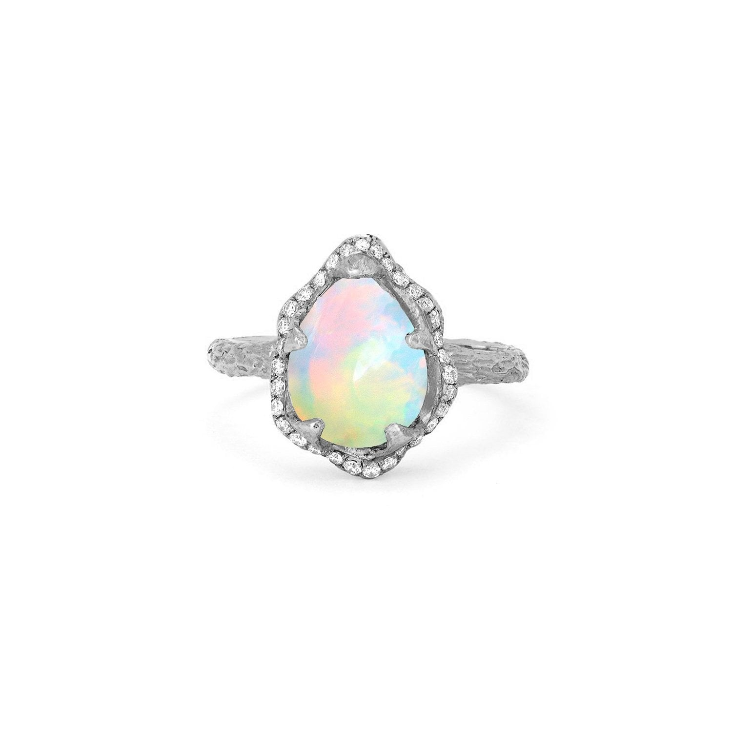 Baby Queen Water Drop White Opal Ring with Full Pavé Diamond Halo