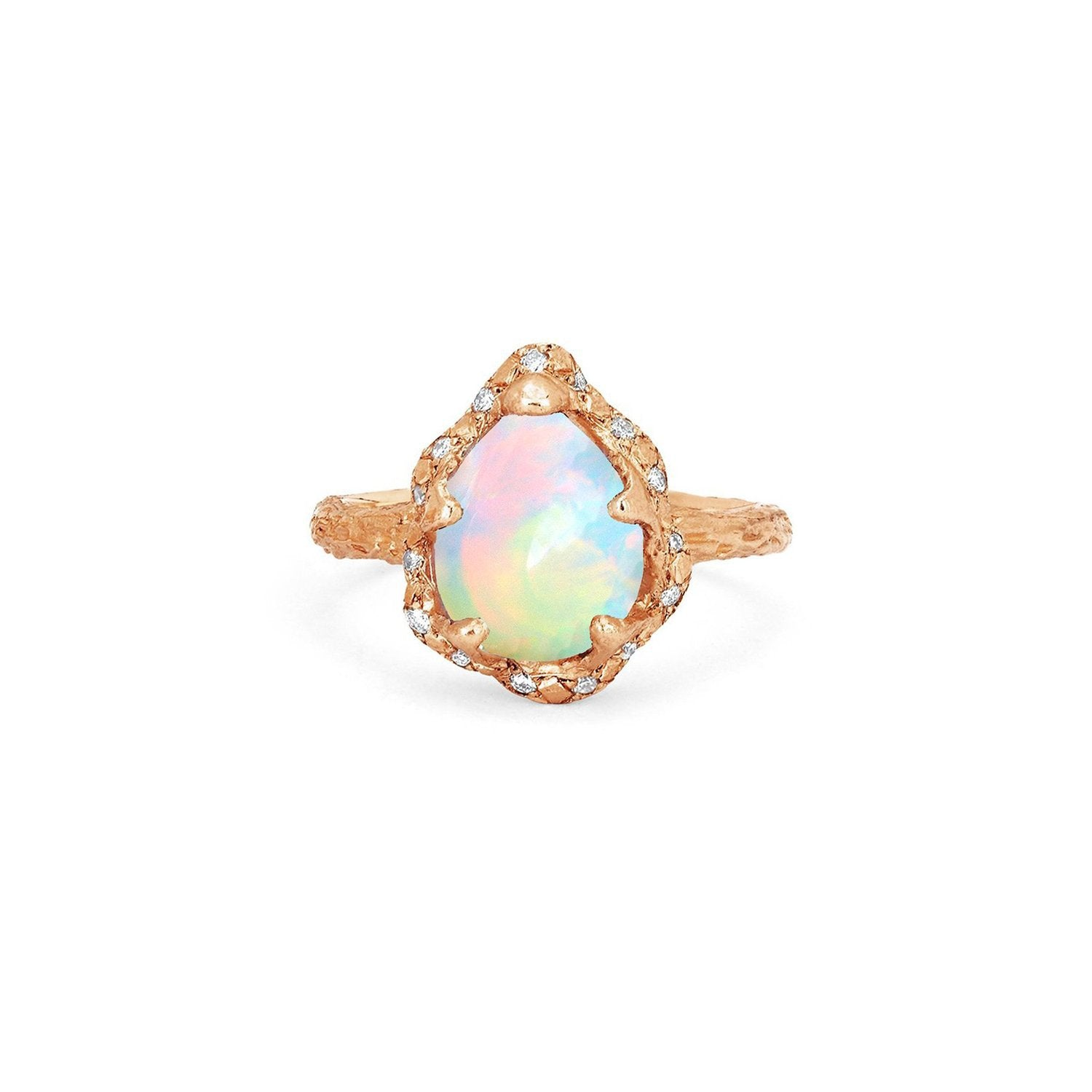 Baby Queen Water Drop White Opal Ring with Sprinkled Diamonds