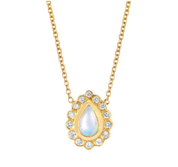 White Opal and Diamond Water Drop Necklace