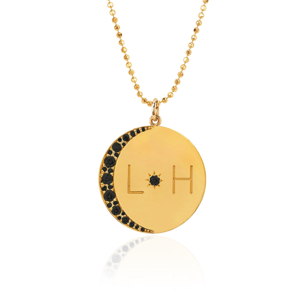 Love You To The Moon and Back Necklace with Black Diamonds on Ball Chain Yellow Gold