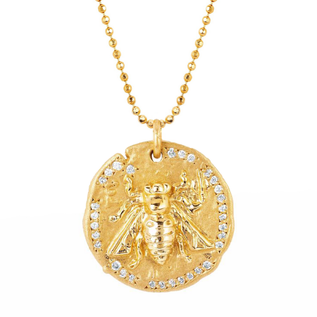 18k Sacred Honey Bee Coin Necklace Yellow Gold