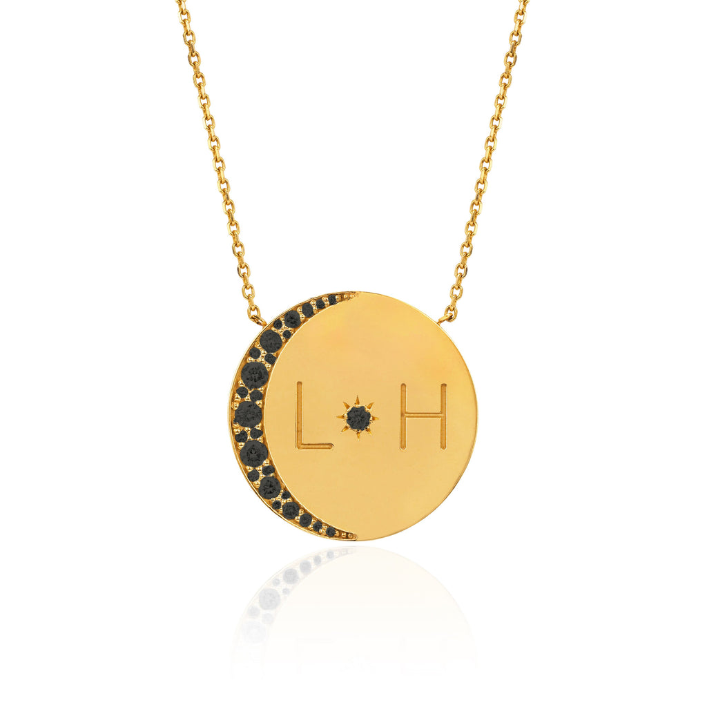 Love You To The Moon and Back Necklace with Black Diamonds Yellow Gold
