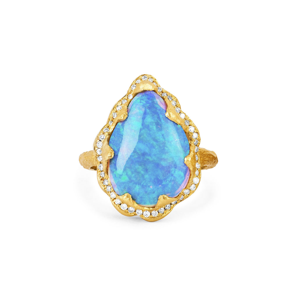 18k Queen Premium Water Drop Blue Opal Ring with Pave Diamond Halo Yellow Gold