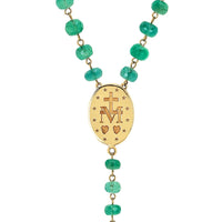 LH x SAINT Emerald Rosary Cross Necklace LH x SAINT Emerald Rosary Cross Necklace