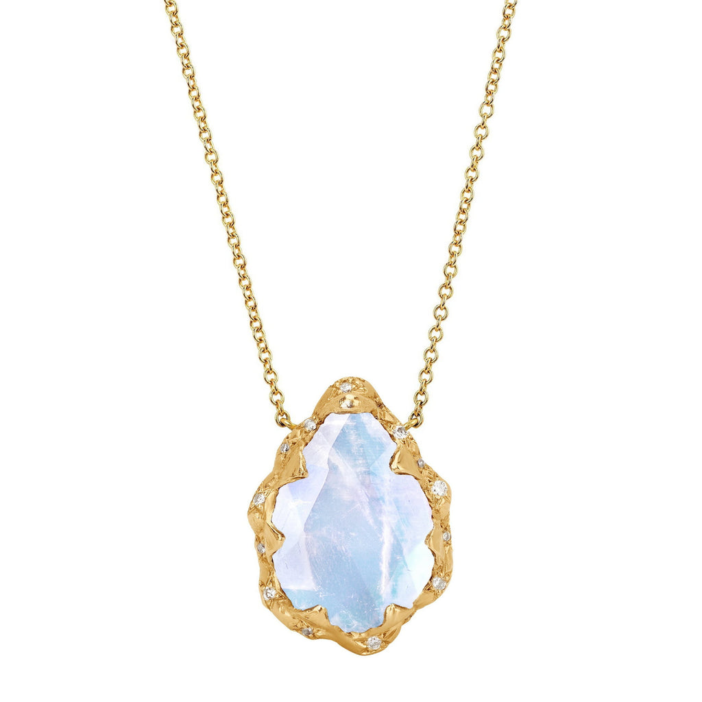 Queen Water Drop Moonstone Necklace with Sprinkled Diamonds Yellow Gold