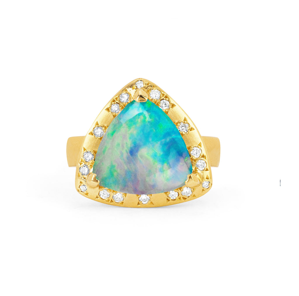 Wilderness Cabochon Blue Opal Ring with Diamonds Yellow Gold