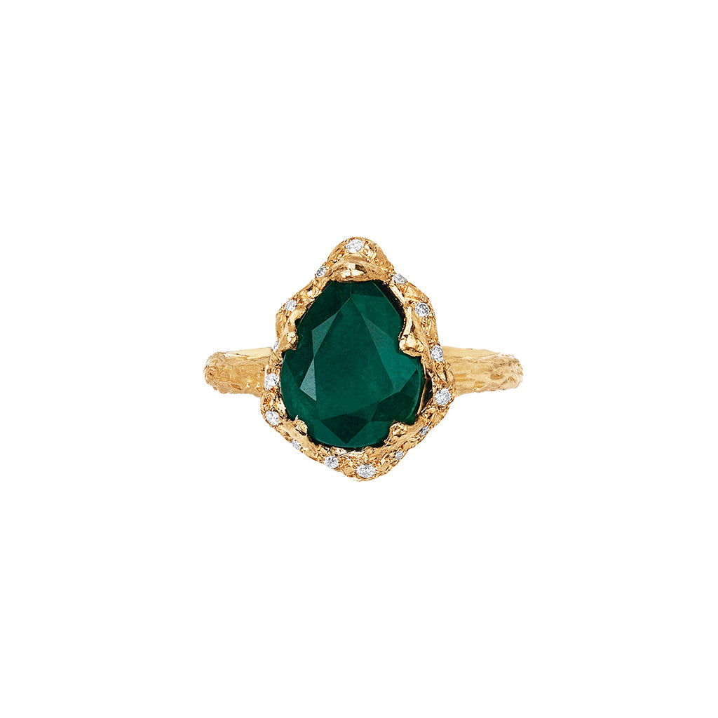 Baby Queen Water Drop Zambian Emerald Ring with Sprinkled Diamonds Yellow Gold