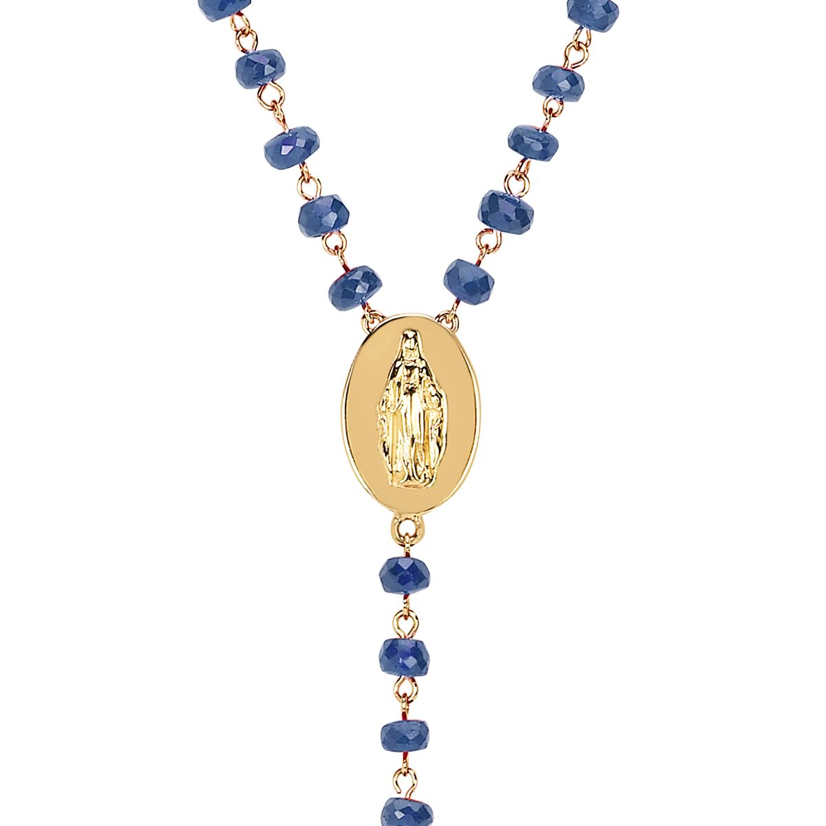 LH x SAINT Sapphire Rosary Cross Necklace