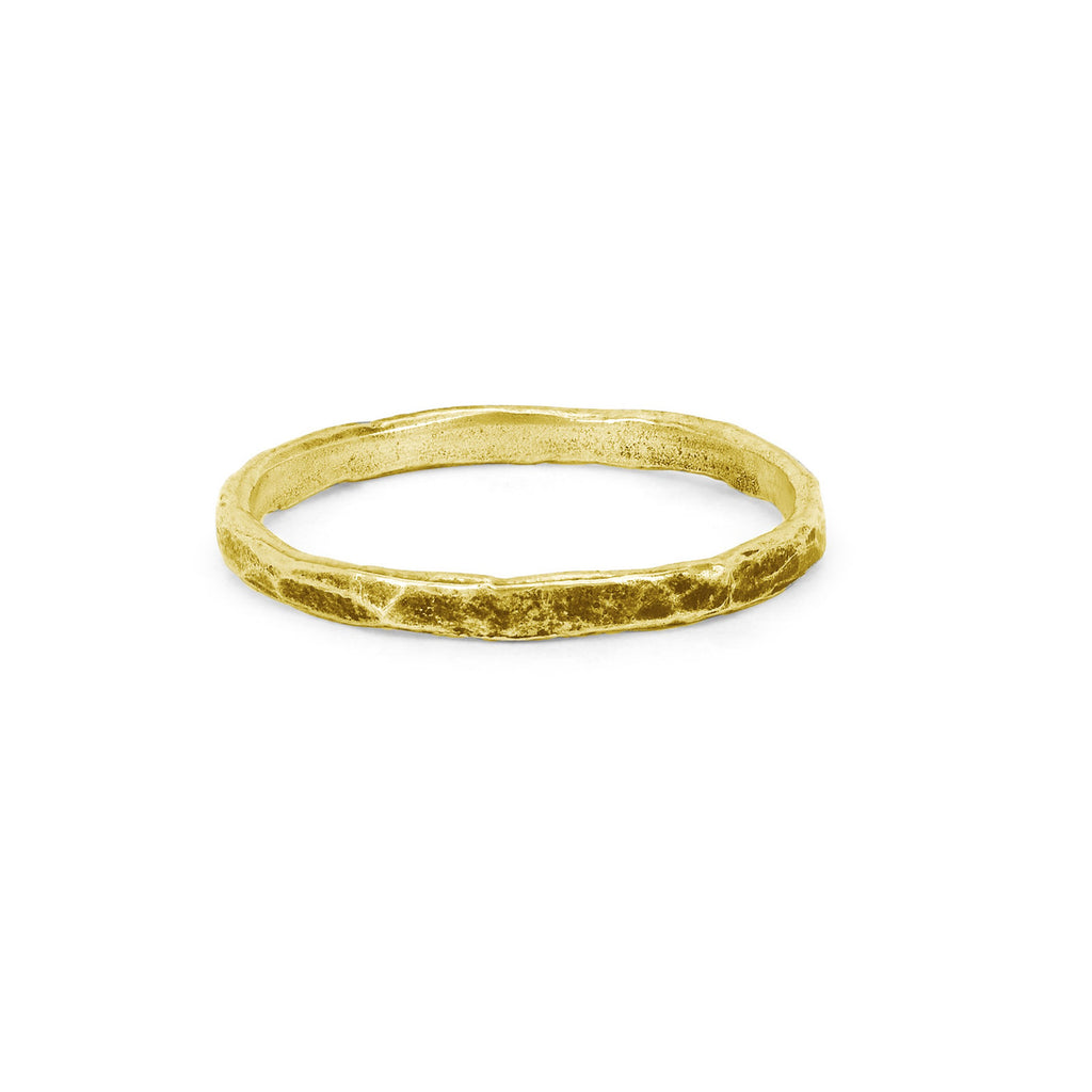 Men's Hammered Band Small Yellow Gold