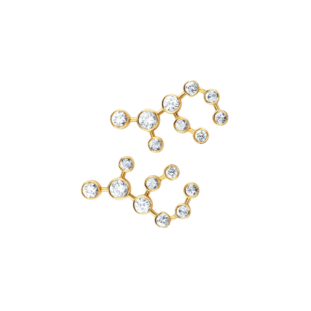 Virgo Diamond Constellation Studs Yellow Gold
