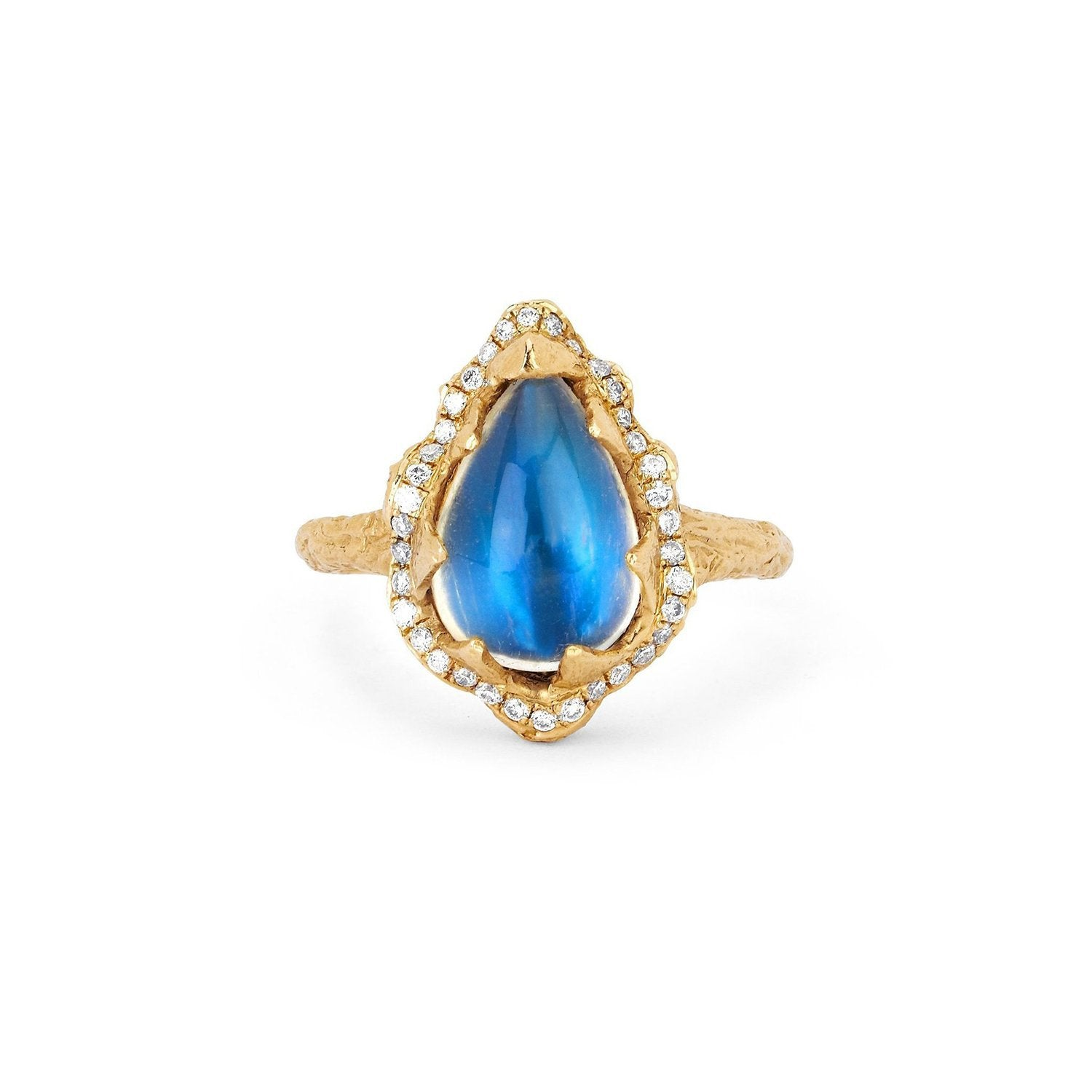 Baby Queen Water Drop Blue Sheen Moonstone Ring with Full Pavé Halo