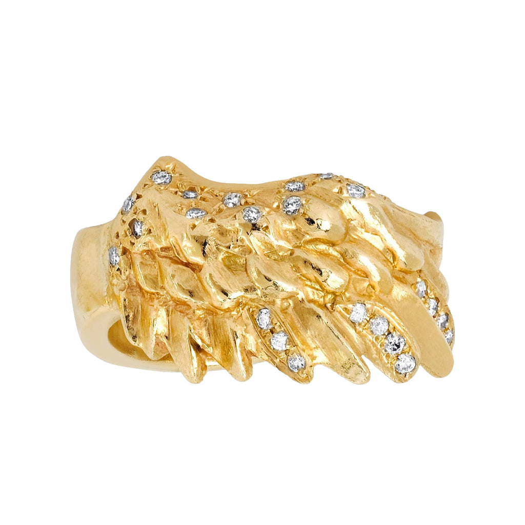 Angel Wing with Sprinkled Diamonds Ring Yellow Gold
