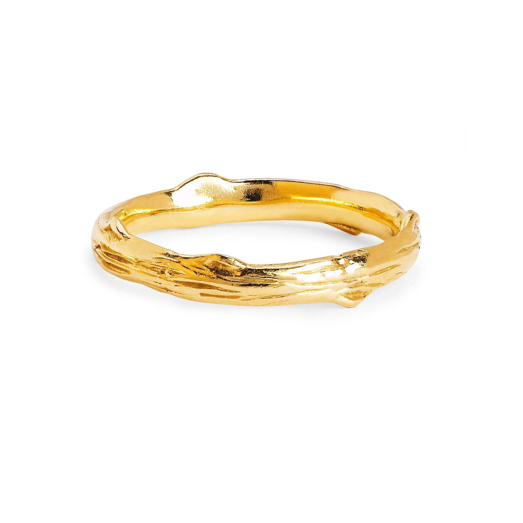Men's Rose Thorn Solid Band Yellow Gold