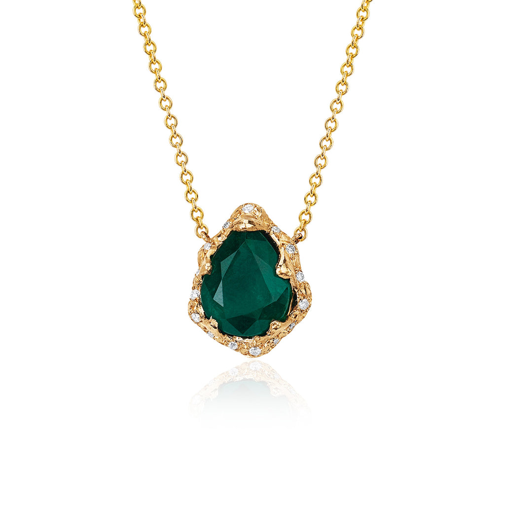 Baby Queen Water Drop Emerald Necklace with Sprinkled Diamonds Yellow Gold