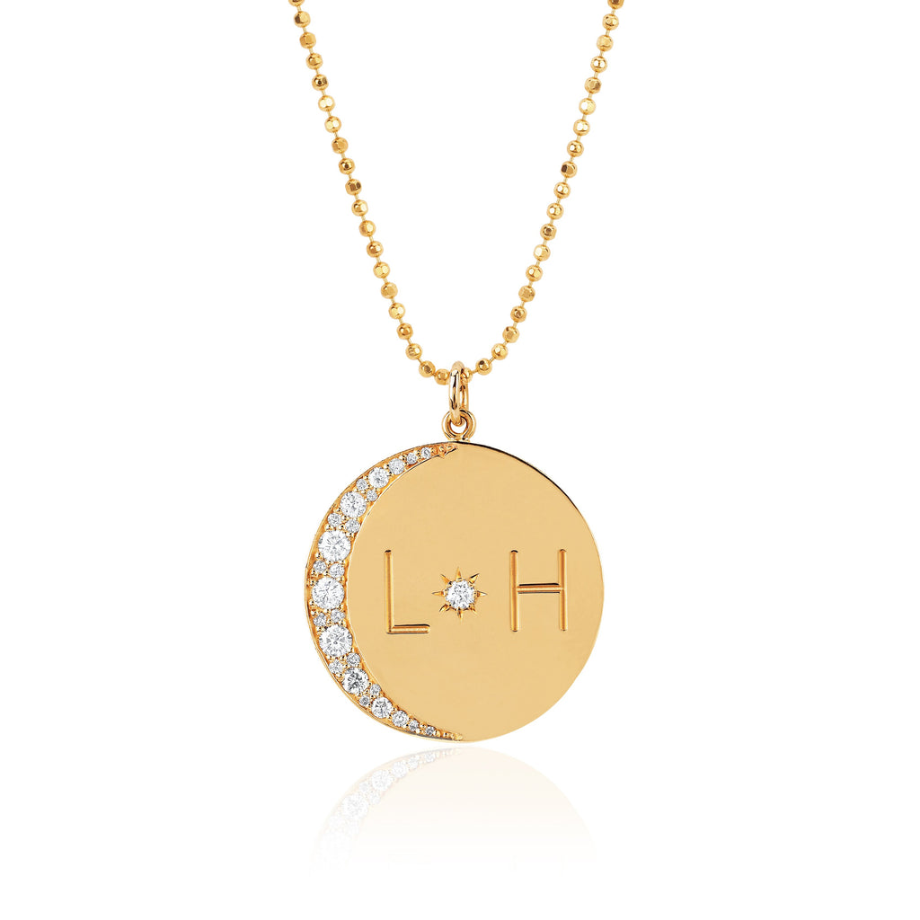 Love You To The Moon and Back Necklace with Diamonds on Ball Chain Yellow Gold
