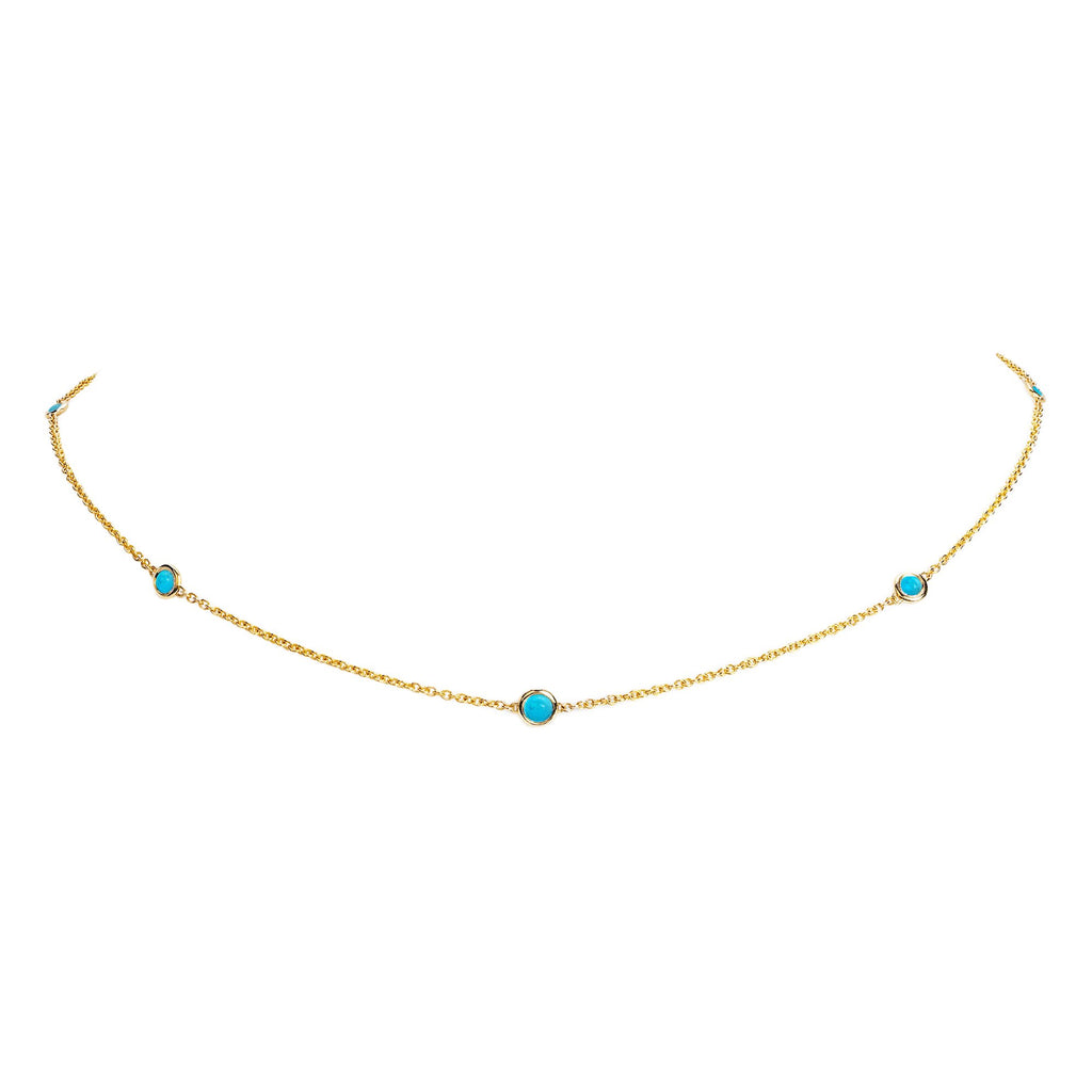 5 or 7 Turquoise Orbit Bezel Choker Yellow Gold