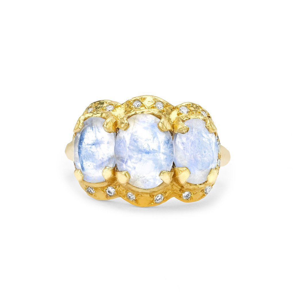 Queen Triple Goddess Moonstone Ring with Sprinkled Diamonds Queen Triple Goddess Moonstone Ring with Sprinkled Diamonds