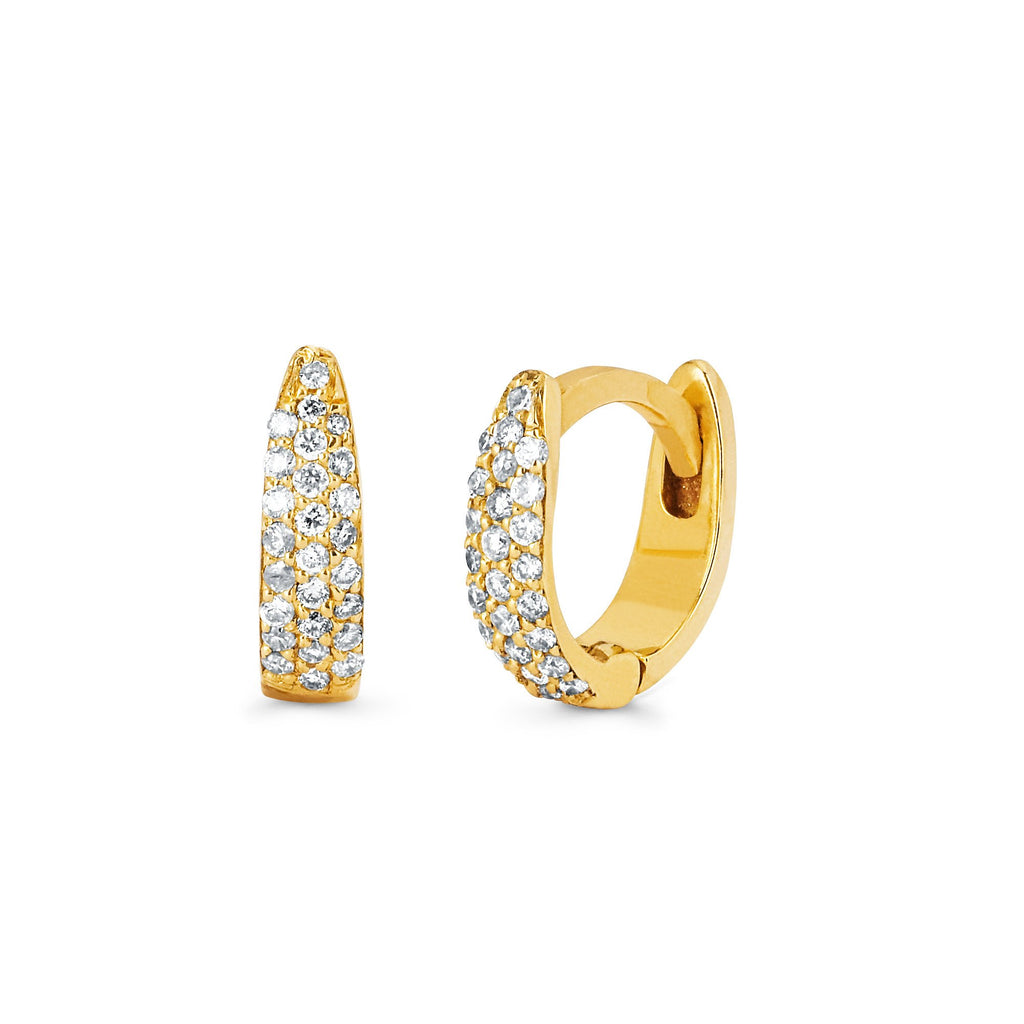 Micro Pave Tusk Huggies Yellow Gold