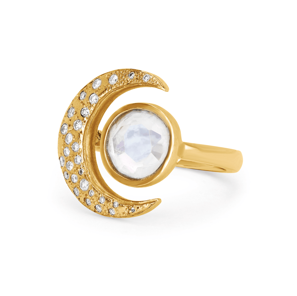 Queen Moonstone Crescent Ring with Sprinkled Diamonds Queen Moonstone Crescent Ring with Sprinkled Diamonds