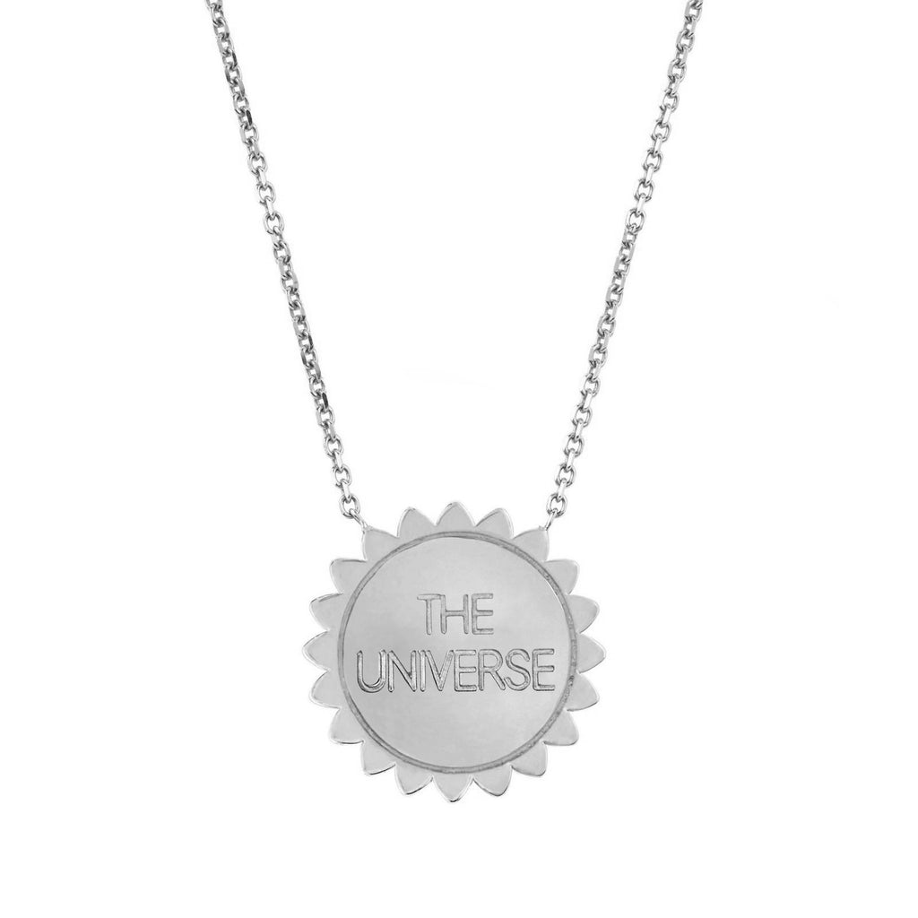Trust the Universe Medium Sunshine Necklace with Diamonds White Gold