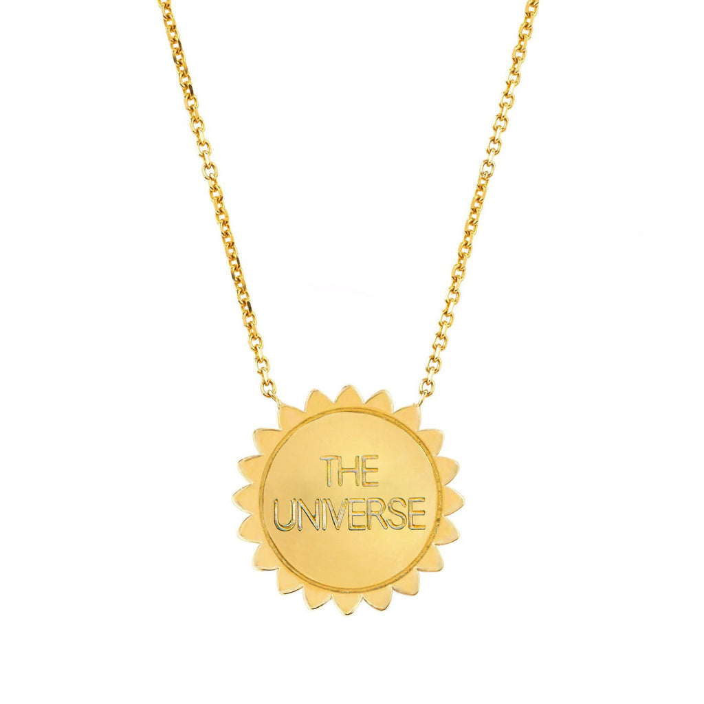 Trust the Universe Medium Sunshine Necklace with Diamonds Yellow Gold